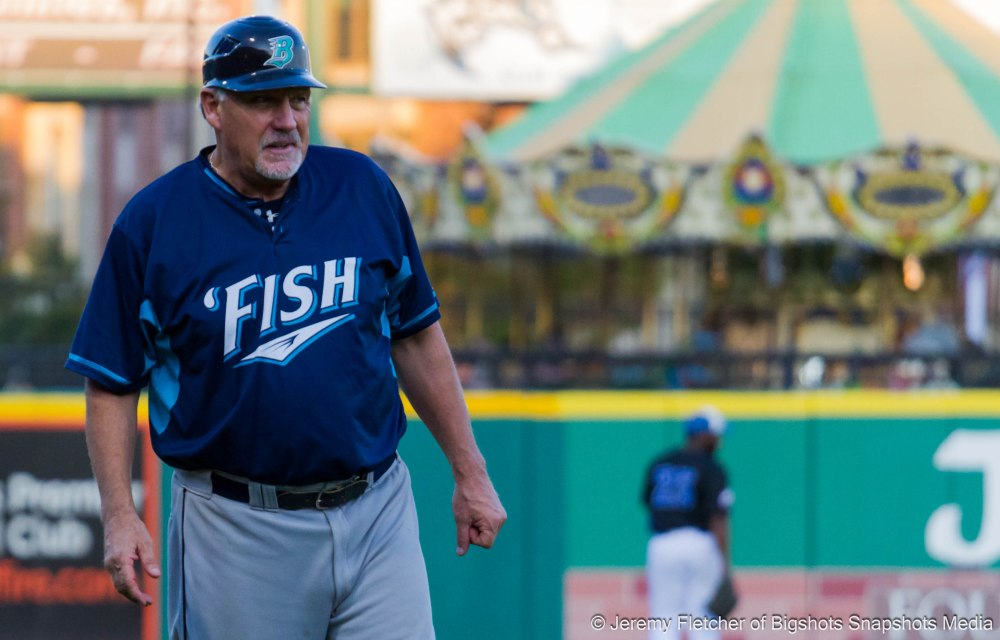 Sugar Land Skeeters vs Bridgeport Bluefish here at Constellation Field in Sugar Land Texas Tuesday August 18, 2015 (Manager of the Bluefish Ricky VanAsselberg)