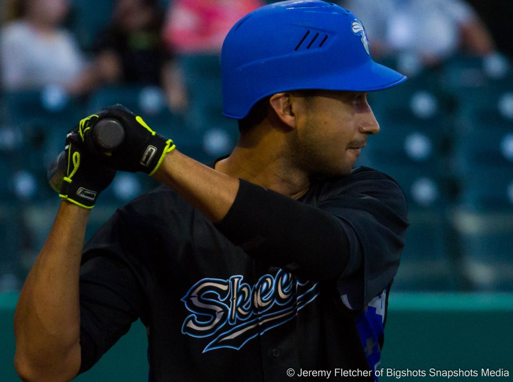 Sugar Land Skeeters vs Bridgeport Bluefish here at Constellation Field in Sugar Land Texas Tuesday August 18, 2015 (Jeff Dominguez and( Renny Osuna warming up to bat )