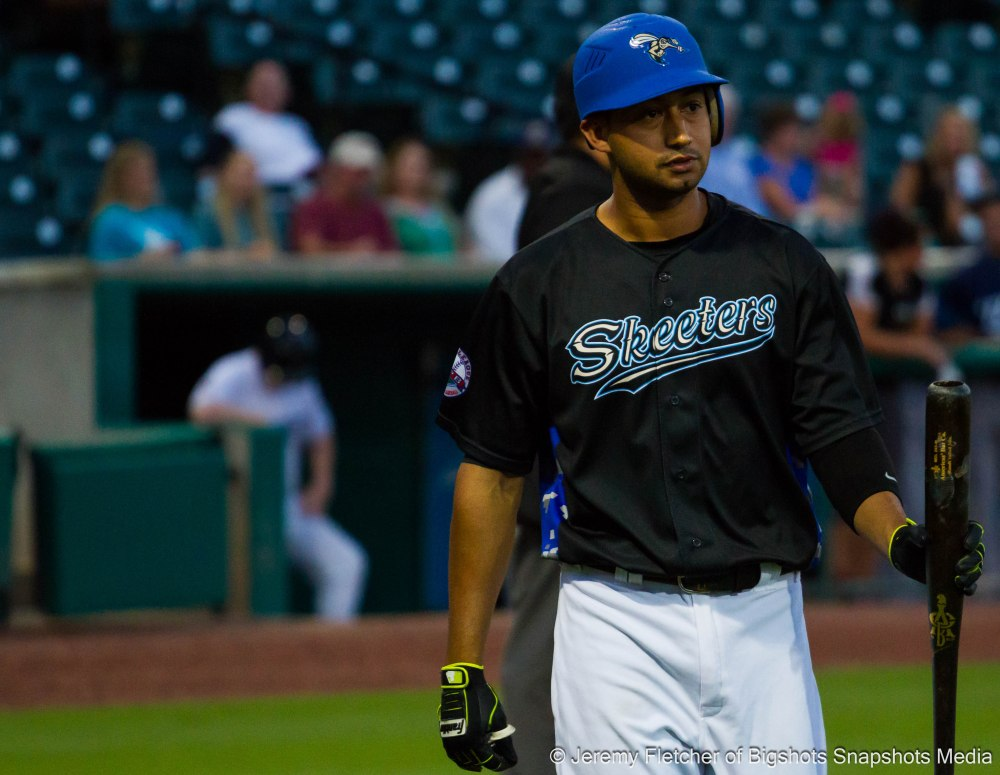 Sugar Land Skeeters vs Bridgeport Bluefish here at Constellation Field in Sugar Land Texas Tuesday August 18, 2015 (Renny Osuna after a strike out )