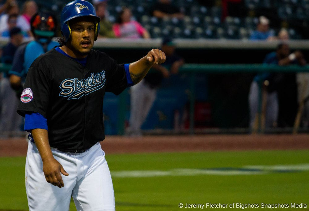 Sugar Land Skeeters vs Bridgeport Bluefish here at Constellation Field in Sugar Land Texas Tuesday August 18, 2015 (Delwyn Young after coming across home plate to score)