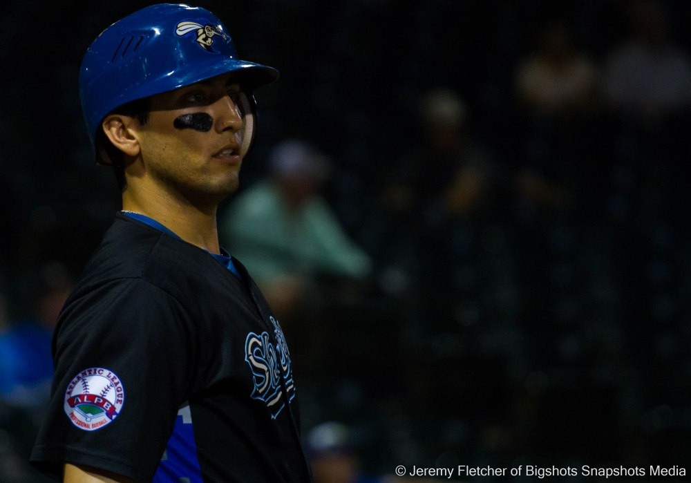 Sugar Land Skeeters vs Bridgeport Bluefish here at Constellation Field in Sugar Land Texas Tuesday August 18, 2015 (Amadeo Zazueta looking at a play in the field)