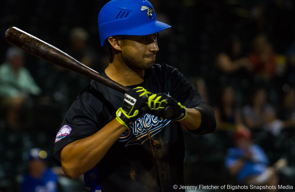 Sugar Land Skeeters vs Bridgeport Bluefish here at Constellation Field in Sugar Land Texas Tuesday August 18, 2015 (Renny Osuna warming up)