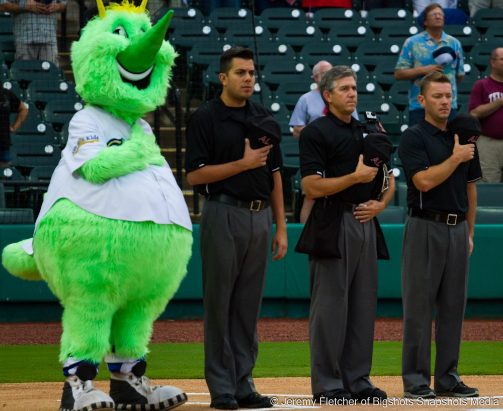 Sugar Land Skeeters vs Bridgeport Bluefish here at Constellation Field in Sugar Land Texas Thursday August 20, 2015 ( Umpires Eric Thompson hp, Michael Dorantes 1b, David Frame 3b)